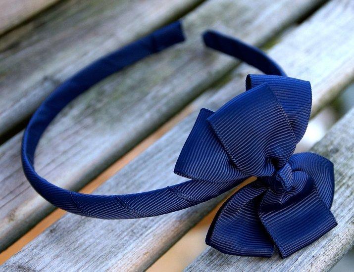 Honorine - donkerblauwe diadeem met dubbele strik